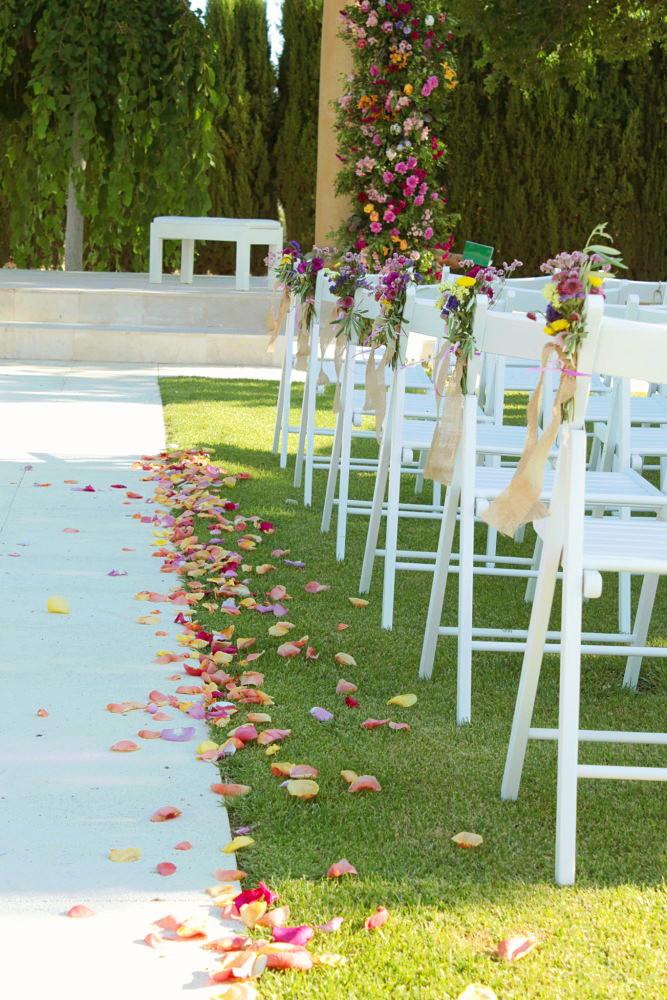 boda civil pétalos