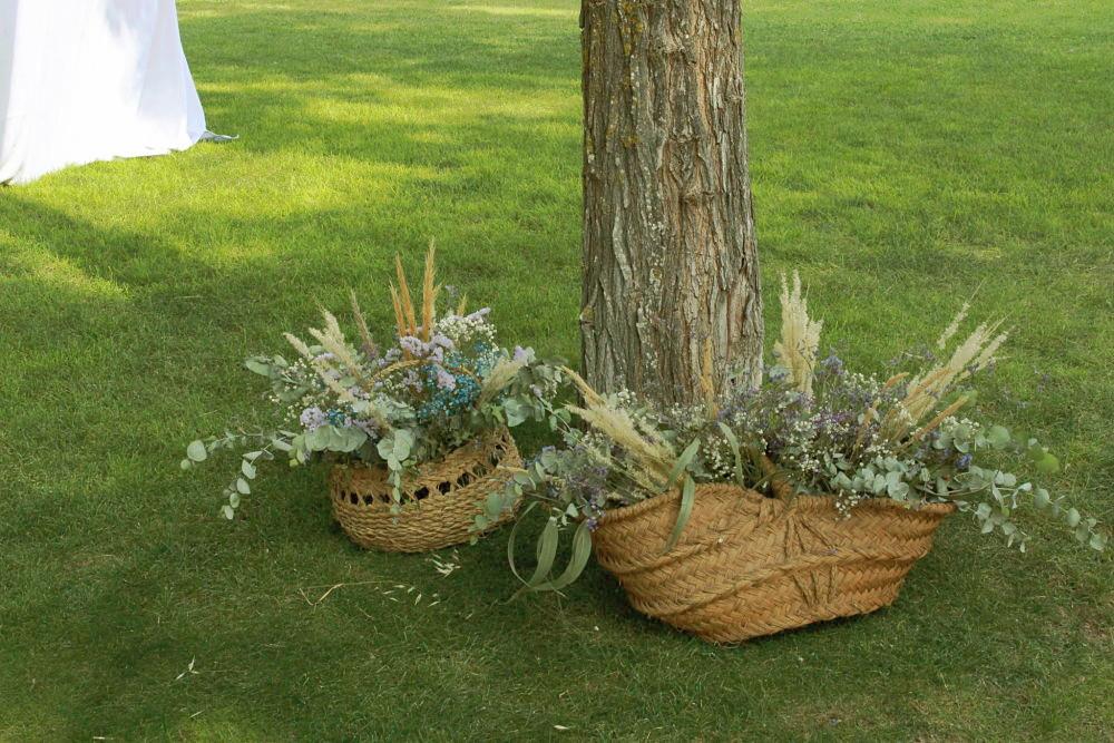 Cestos flor campestre boda